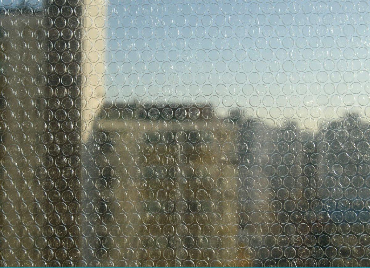 bubble wrap insulation applied onto windows